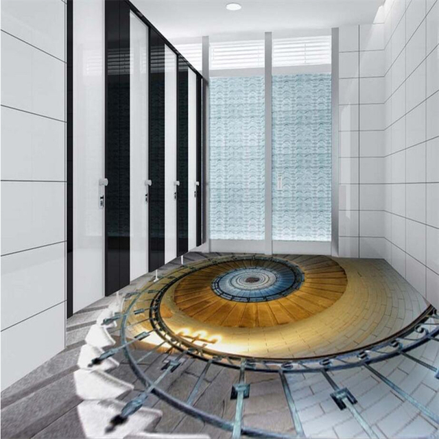 Beibehang 3d Personalizzato piano girevole scale soggiorno bagno 3d ...
