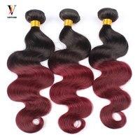 3 шт. Ombre бразильский волос Weave Связки 1B99J бордовый бразильский волос предварительно Цвет Two Tone Ombre человеческих волос Remy расширение Venvee
