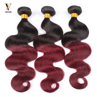 3 Pcs Ombre Brazilian Hair Weave Bundles 1B99J Burgundy Brazilian Hair Pre Color Two Tone Ombre Human Hair Extension Venvee