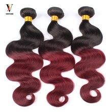3 Pcs Ombre Brazilian Hair Weave Bundles 1B99J Burgundy Brazilian Hair Pre-Color Two Tone Ombre Human Hair Extension Venvee