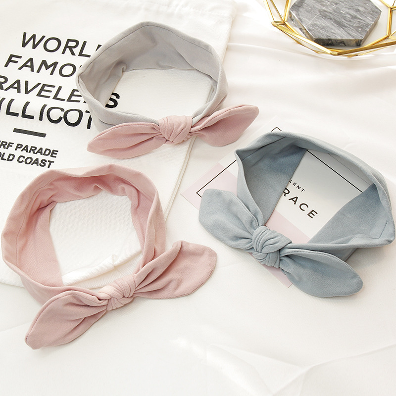 2018 New Rabbit Bunny Ears Baby Girls Kids Bow Headbands Hair Head Bands Accessories For Children Hair Turban Headwrap Headdress
