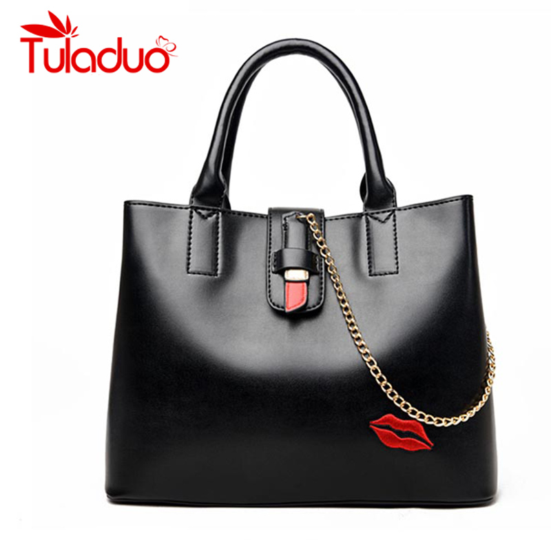 2017 New Women Handbags Designer High Quality Female PU Leather Bag  Embroidery Lips Print Shoulder Bags Chains Casual Tote Bag retail new designer women s outdoor crossbody bags graceful landscape print teenagers shoulder bag high quality casual bag