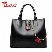 2017 New Women Handbags Designer High Quality Female PU Leather Bag Embroidery Lips Print Shoulder Bags