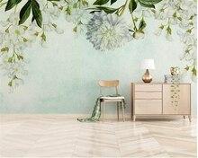 Купить с кэшбэком Beibehang Custom fashion 3d wallpaper hand-painted oil painting green leaf flowers European TV background wall 3d wallpaper