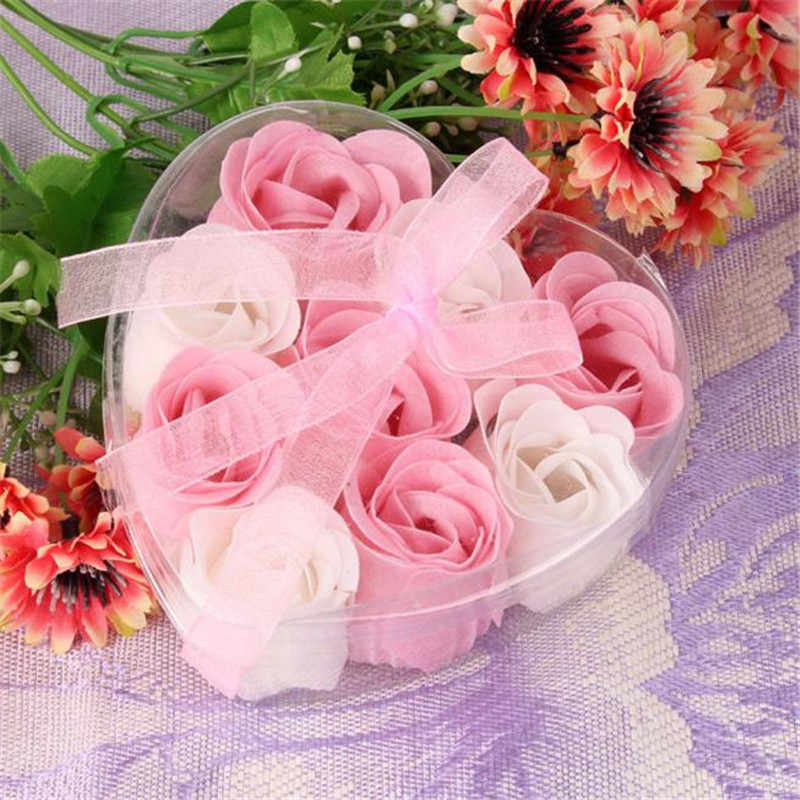 9Pcs Rose Flower Soap Petal Bath Body Soap Heart Scented Christmas Gift Wedding Festival Decoration Gift Candy box Air freshener