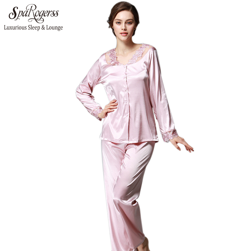 SpaRogerss Luxurious Women Pajama Set 2017 Faux Silk Lace Ladies ... eebd4d2c3