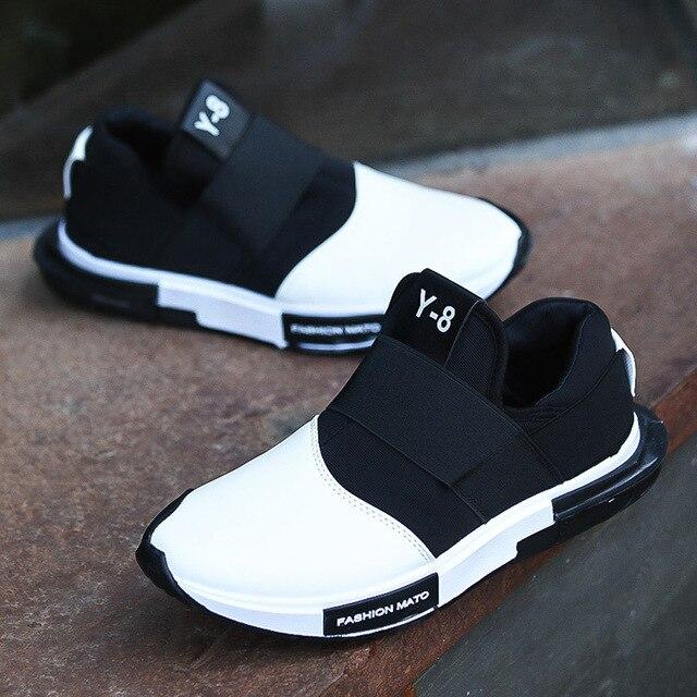 Y8 2017 Моды Печати Мужчин Повседневная Обувь ИСКУССТВЕННАЯ Кожа Скольжения на плоские Мужчины Обувь Дышащая Мягкая Обувь для Взрослых EUR размер 39-44