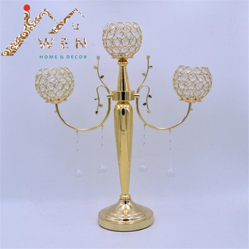 Metal candle holder/ metal candlelabra/ 3-arms candle holder with crystals wedding candelabrum