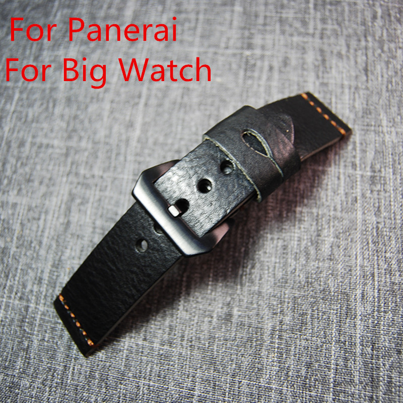 24MM 26MM Handmade Black Leather Scrub Soft Watchband Classic General Watch Strap Belt For PAM And