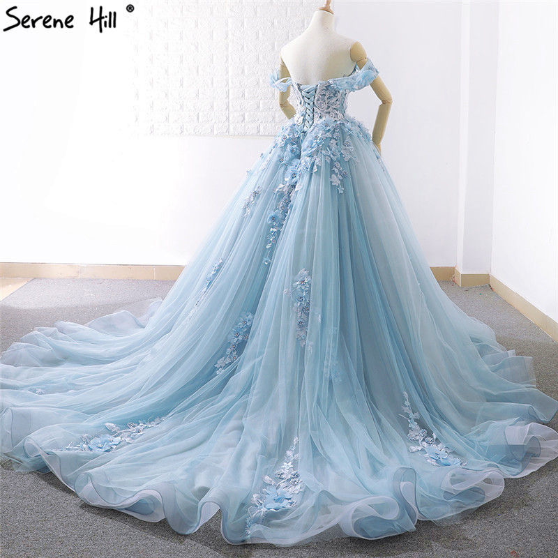 Image 4 - Blue Off Shoulder Handmade Flowers Wedding Dresses 2020 Sexy Sleeveless Crystal High end Bridal Gowns Real Photo 66706Wedding Dresses   -