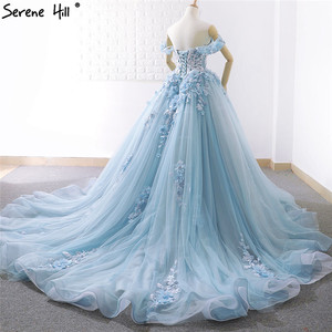 Image 4 - Blue Off Shoulder Handmade Flowers Wedding Dresses 2020 Sexy Sleeveless Crystal High end Bridal Gowns Real Photo 66706