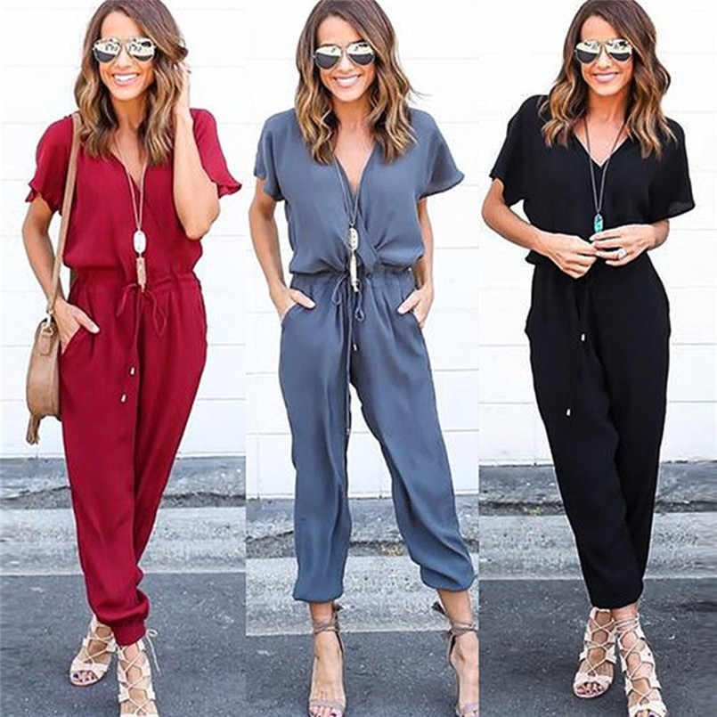 Top Fashion Classic quality Women Chiffon Short Sleeve Clubwear Playsuit Bodycon Party Jumpsuit Romper Charming  Smooth #30