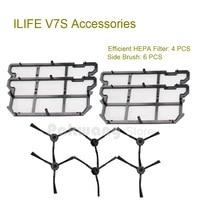 Original ILIFE V7S Efficient HEPA Filter 4 Pcs And Side Brush 6 Pcs Robot Vacuum Cleaner