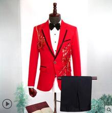 Fashion stage Sequin flower clothing men groom suit set with pants 2019 mens suits costume singer wedding formal dress red 2XL jacket pants red man s suit groom dress singer master of ceremonies host stage show serve clothing mens suits wedding