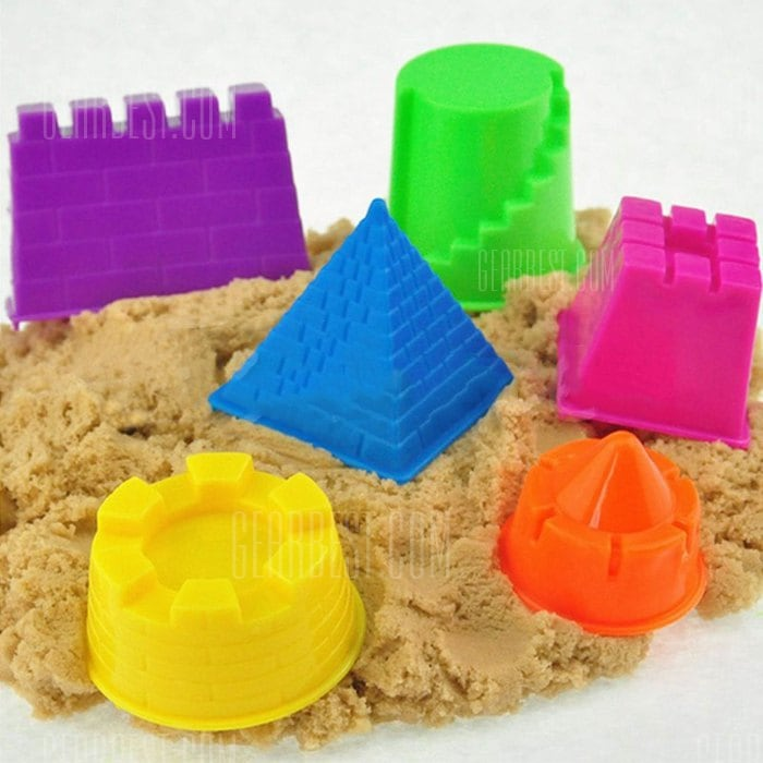 6PCS Mini Plastic Sand Beach Toy Sand Mould Set