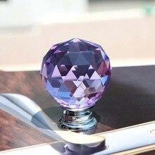 35mm Luxury Pink Clear Crystal Wine Cabinet knob Bronze Cupboard Pull Silver Zinc  Dresser Drawer Wardrobe Furniture