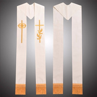 Takerlama Single Cross Stole Religion Priest Embroidery Tassels Stole Minister Clergy Stole Wedding Ivory Stole