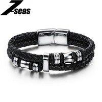 Fashion Men S Jewelry High Quality Double Layer Genuine Leather Titanium Steel Magnet Bracelet Punk Rock