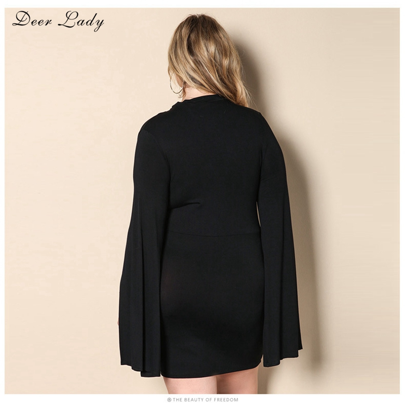 Deer Lady Women 2017 Large Sizes Clothes Black Cape Sleeve Dress Bodycon  Mini Dress Clubwear Plus Size Summer Dress With Sleeves-in Dresses from  Women s ... 9f1075079440