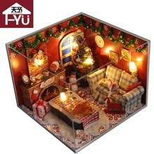 Home Decoration Crafts DIY Doll House Wooden Doll Houses Miniature DIY dollhouse Furniture Kit Room LED Lights Gift 1411TW8