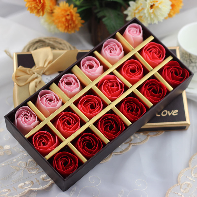 Rose Soap Flower Gift Box For Valentine's Day Birthday New Year Gift Scented Bath Soap Rose Flower Petals 18PCS/Box