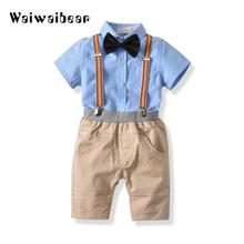 цена на Fashion Baby Sets Short Sleeve T-Shirt+Pants+Bow Tie Gentleman Baby Clothing Sets Kids Suits Clothes For Baby Boys