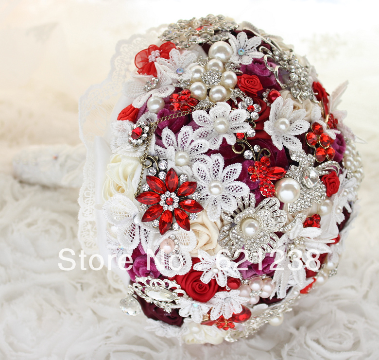 8 inch Wine red bridal bouquet / (handmade) Rose, brooches, jewelry ...