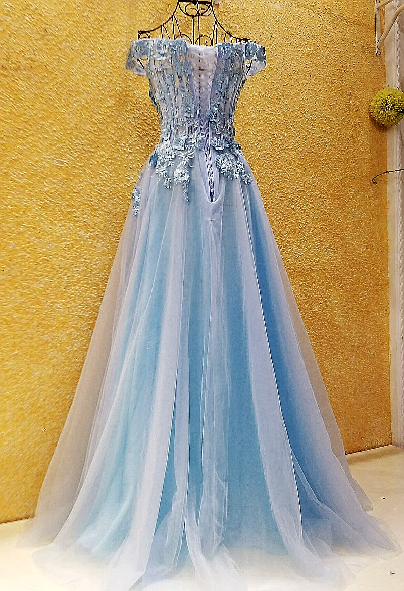 LS54701 prom dresses cheap light blue pink off the shoulder ...
