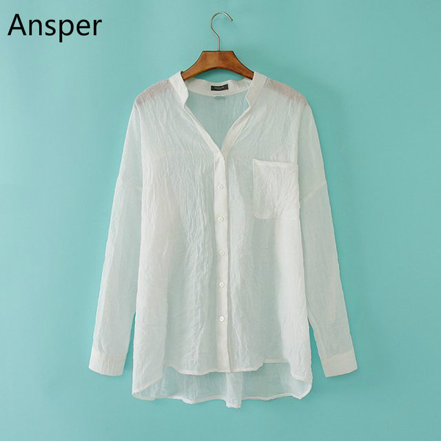 2018 Super Thin Transparent Women Linen Shirts Button Up Solid