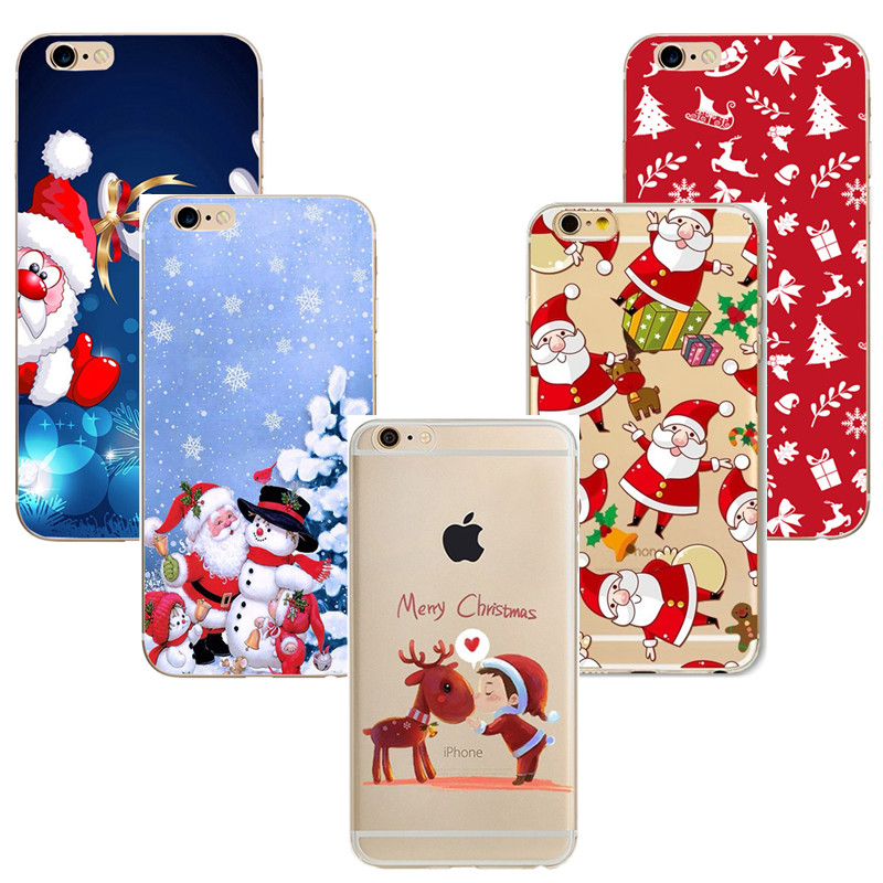 Silicone Coque for iPhone X Case Merry Christmas For iPhone 8 7Plus Phone Cases Luxury Back Cover for iphone 6 6s 7 8plus Cover