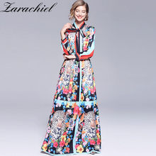 Runway Designer Back Lion Floor-Length Maxi Dress 2019 Fall Women Bow Tie Collar Hit Color Flower Printing Swing Pleated Dress(China)