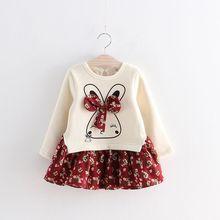 Printemps Été Nouvelle Fille Robe Belle Lapin Floral Ruban Épissage Robe Enfants Vêtements bébé Filles Vêtements 2-8 Ans