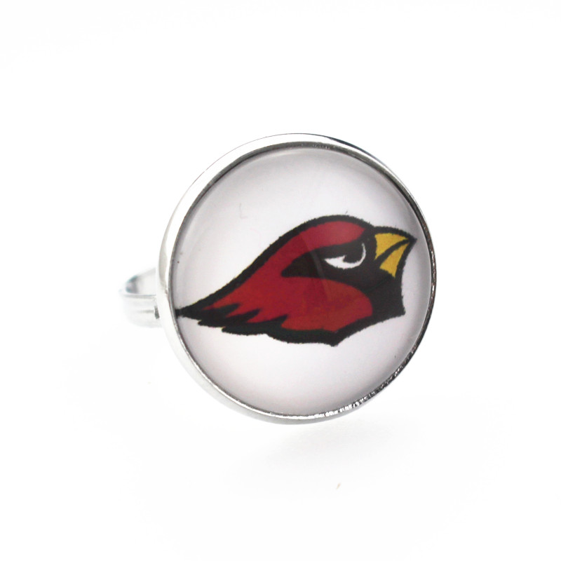 high quality 10pcs/lot sport Arizona Cardinals Football Team Sport Rings Glass Silver Alloy Ring For Man Adjustable DIY Jewelry