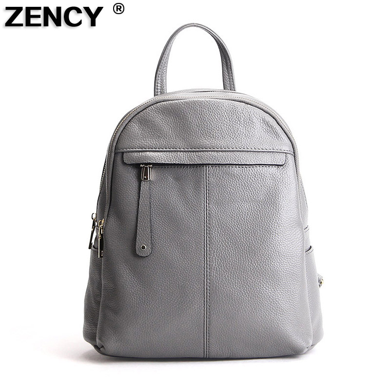 ZENCY 9 Color Fashion Soft Genuine Cow Leather Women Ladies Girls Backpack Top Layer Cowhide School