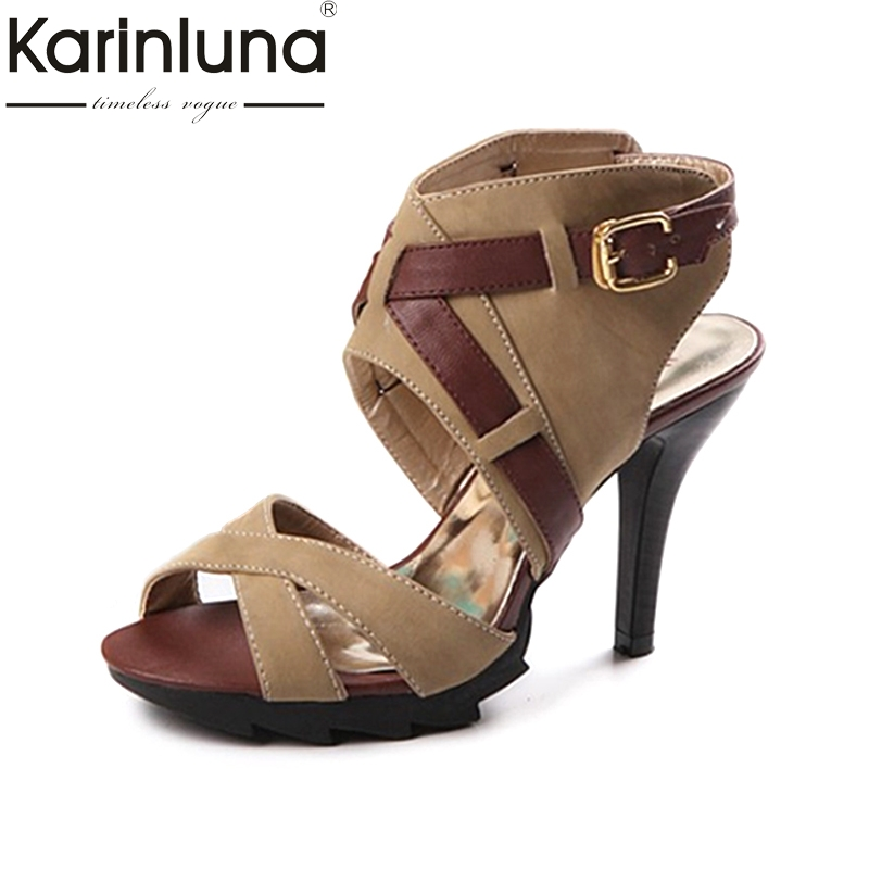 KARINLUNA 2017 Big Size 34-43 Women Gladiator Sandals Sexy Spike High Heels Open Toe Platform Party Wedding Summer Shoes цены онлайн
