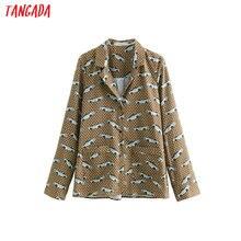 Tangada women vintage blouse cartoon print fashion turn down collar long sleeve stylish 2019 office