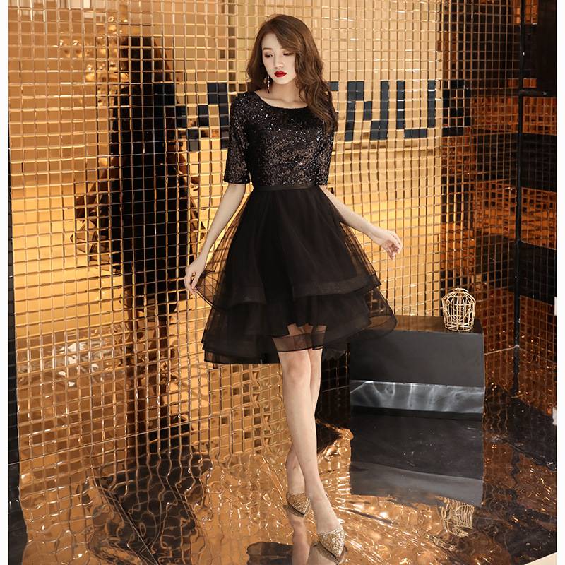 Tea-length  Prom Dresses Shining Sliver Sequins Short Party Dress 2019 New Elegant O-neck Zipper High Low  Formal Ball Gown E100