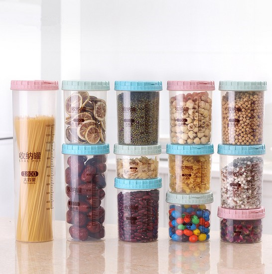 1PC Food food kitchen Storage Can Wheat Straw Plastic Bottle Safety Seasoning Box Food Grade Bottle with Scale OK 0443
