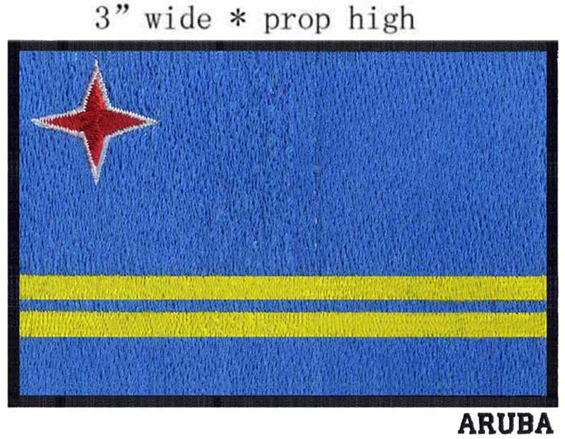 Aruba,Flag embroidery patch 3 wide shipping/two yellow bands/star wars lightsaber/candy color