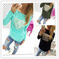 2016 women white gilding hollow out letter printed women tops casual t shirt female long sleeve top vestidos