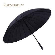 JPZYLFKZL Hot Sale Brand Rain Umbrella Men Quality 24K Strong Windproof Glassfiber Frame Long Handle Womens Parapluie