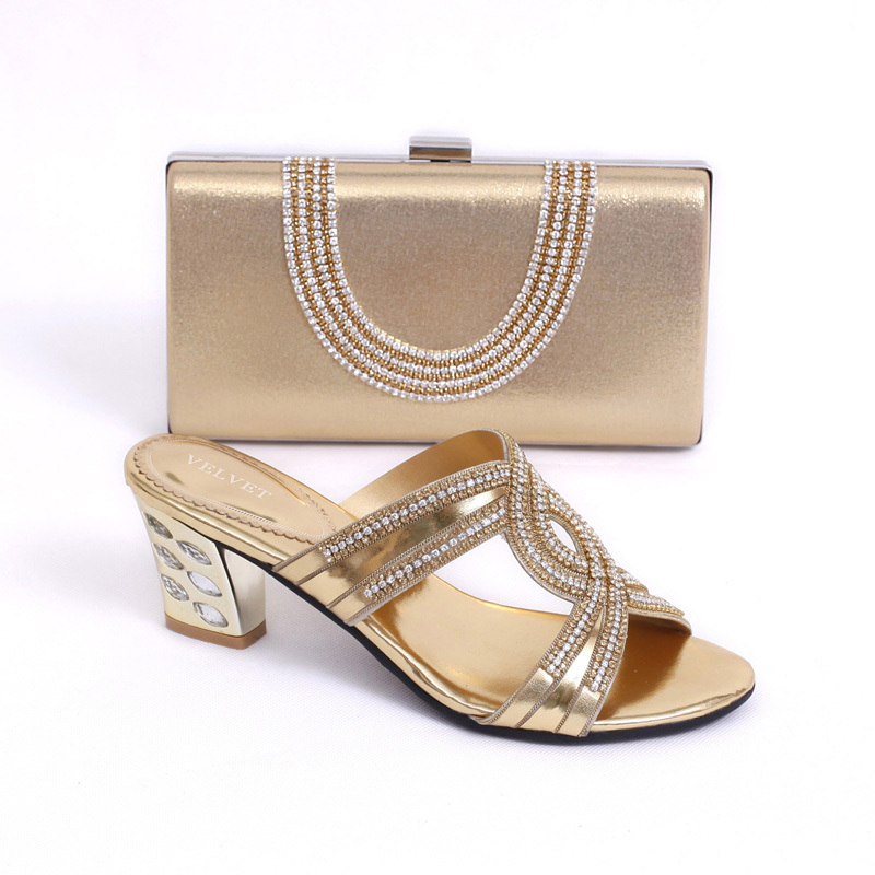 gold!hot selling Italian ladies shoes and matching bag set a9aa443373b8