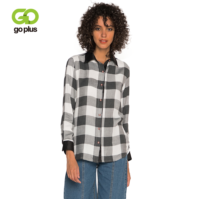 GOPLUS 2019 New Fashion Plaid Shirts Women Long Sleeve Turn-down Collar Blouses Lady Casual Spring Office Blusas Female Tops