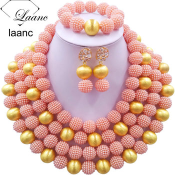 Laanc African Style Wedding Jewelry Set Gold Ball and Peach Simulated Pearl Nigerian Beads AL544