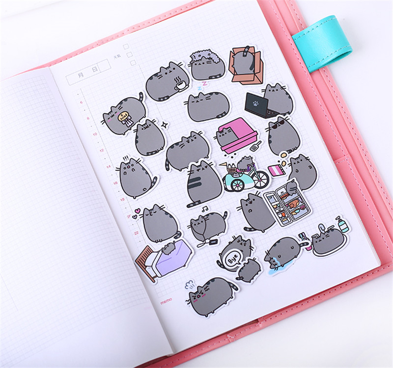 Image 3 - 40 pcs Fat cat expression homemade Sticker for Kid DIY Laptop Waterproof Skateboard Moto phone Car Toy Scrapbooking Stickers-in Stickers from Toys & Hobbies
