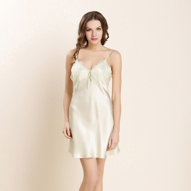 890e77e6e8 100% Pure Silk Nightgowns Women Sexy Sleepwear Home Dresses SILK Nightdress  Summer Style Dress