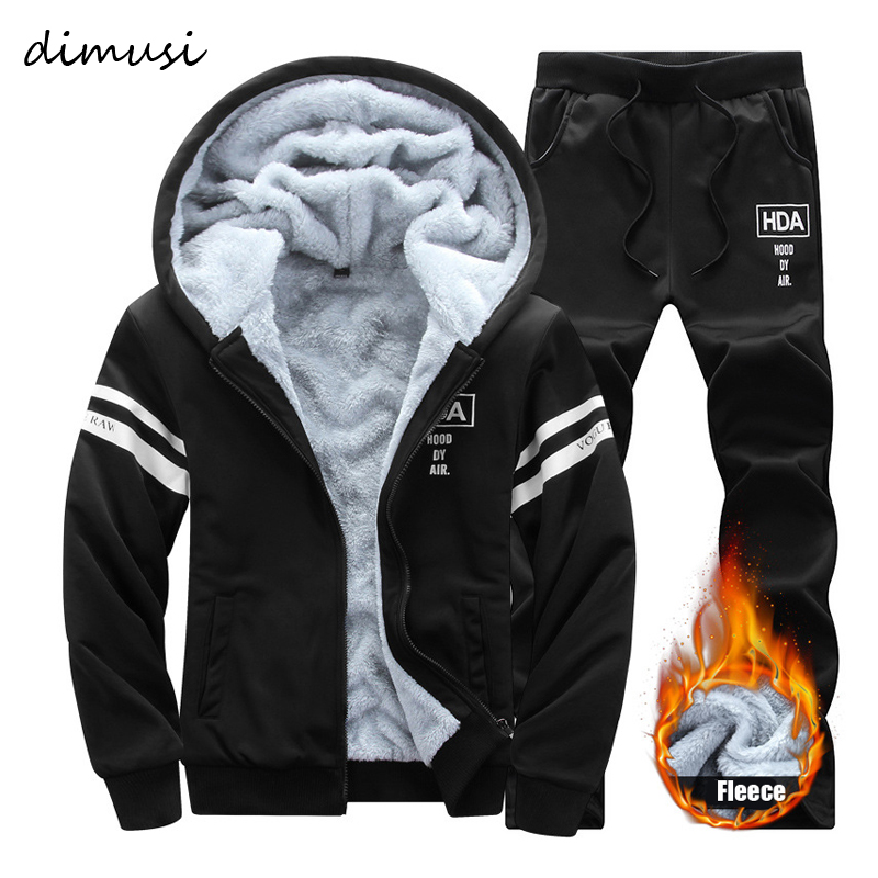 DIMUSI Winter Mens Sportwear Sets Male Fleece Thick Warm Tracksuit Jacket + Pants Men Sweatshirts Tracksuit Hoodies 4XL,TA265