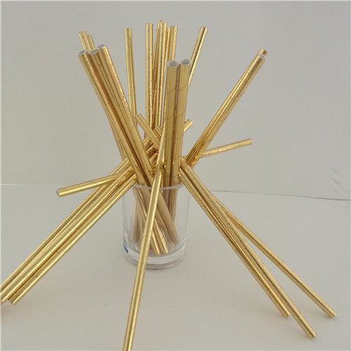 25Pcs Disposable Pure Color Bronzing Gold Silver Creative Wedding Supplies Birthday Event Party Decorating Beverage Paper Straw 3
