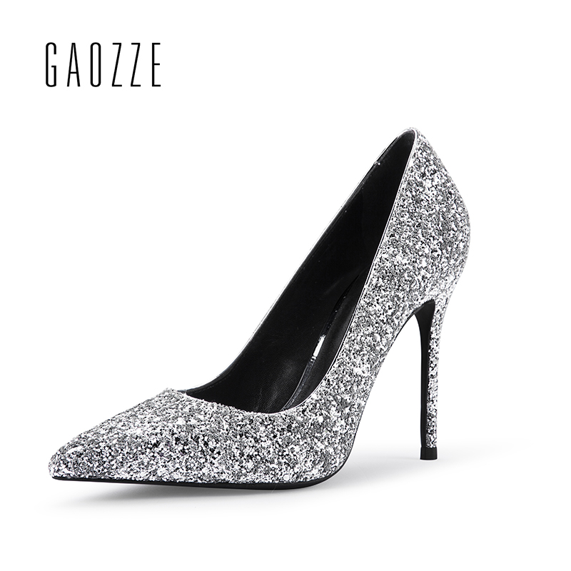 GAOZZE Women Sexy High Heels Pointed Toe High Heel Female Glitter Sequins Party Shoes Pumps Women Wedding Shoes 2018 Spring New annymoli women pumps high heels glitter wedding shoes sexy pointed toe thin heel bridal shoes spring party female pumps red gold