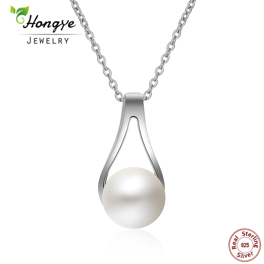 Hongye Pearl Jewelry,100% Natural Freshwater Pearl Pendant Necklace,Fashion Style 925 Sterling Silver Perola Collar ,gift box